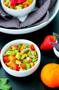 Strawberry, Avocado and Clementine Salsa   With sweet strawberries, creamy avocado, and tart clementines, this colorful and healthy  Strawberry, Avocado, & Clementine Salsa is sure to be a crowd pleaser! @emilyklimmek
