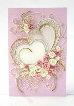 What a lovely example of quilling on a card Neli Quilling, Paper Quilling Flowers, Paper Quilling Patterns, Quilled Paper Art, Quilling Paper Craft, Paper Crafts, Quilled Roses, Filigrana Neli, Quilling Tutorial