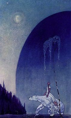 """She held tight to the White Bear"" from 'East of the Sun, West of the Moon'  1914  Kay Nielsen, Danish"