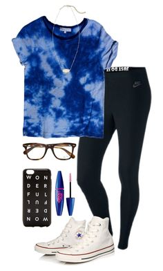 """""""Going to Gabbie's (@gabbiegiordano) sleepover tonight """" by madelyn-abigail ❤ liked on Polyvore featuring moda, NIKE, Sandro, Converse, Ray-Ban, Maybelline, J.Crew ve Kendra Scott"""
