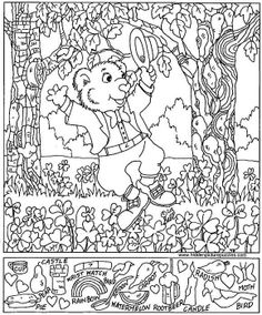 new Year S Day Hidden Picture Puzzle Coloring Page.hidden Page Print Your Free Hidden Pictures Hidden Object Puzzles, Hidden Picture Puzzles, Hidden Objects, Coloring Sheets, Colouring Pages, Coloring Books, Childrens Word Search, Hidden Pictures Printables, St Patricks Day Pictures