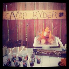 Dessert table at Ryder's camp party