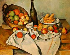 PAUL CEZANNE (French Post-impressionist): Still Life with Basket of Apples, Oil on canvas 25 7/16 x 31 1/2 in. (65 x 80 cm), 1895. Art Institute of Chicago.The piece is often noted for its disjointed perspective. It has been described as a balanced composition due to its unbalanced parts. Paintings such as this helped form a bridge between Impressionism and Cubism. LINK for more.