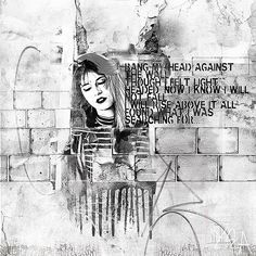Against the wall is an artsy digital scrapbook page