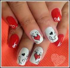 Cute and Easy Valentine Day Nails Acrylic Art Designs Ideas with Red Hearts - Part 36 Shellac Nail Designs, Valentine's Day Nail Designs, White Nail Designs, Red Nail Art, Red Nails, Nail Art Coeur, Cute Nails, Pretty Nails, Romantic Nails