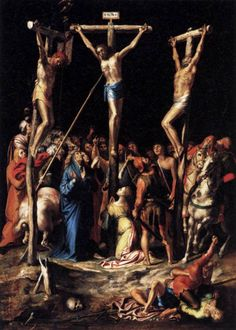 Pieter de Kempener (1503–1580) - Crucifixion - circa 1550 canvas mounted on wood, Height: 54 cm (21.3 in). Width: 39 cm (15.4 in). Louvre Museum, Paris, France