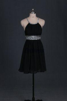 Simple+black+chiffon+homecoming+dressshort+cheap+prom+by+Evdress,+$95.00