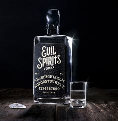 Brilliant packaging for new Evil Spirits vodka, and a press kit that does for ouija board mysticism what The Kraken rum's did for deep sea monster hunting