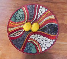 Mosaic Art Red Mosaic Dish Platter Mosaic Bowl by NewArtsonline