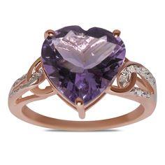Ebay NissoniJewelry presents - .02CT w/ Amethyst Heart Fashion Ring 10k Pink Gold    Model Number:FRV4017A-P077AM    http://www.ebay.com/itm/02CT-w-Amethyst-Heart-Fashion-Ring-10k-Pink-Gold-/222062070130