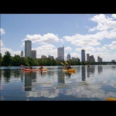 Kayaking on town lake in Austin.