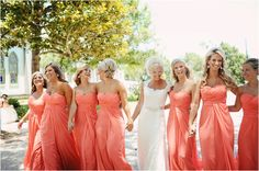 Coral Strapless Bridesmaids Dresses ~ Coral Wedding ~ Photo: Ashley Gillen Photography