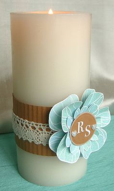 Wedding Candle by Stamping and Stitching, via Flickr