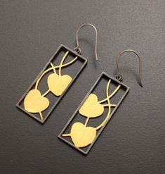 Fine gold on sterling earrings of leaf motif and by KAZNESQ, $170.00