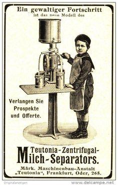 Original-Werbung/Anzeige 1905 - ZENTRIFUGAL MILCH- SEPARATOR /MÄRKISCHE MASCHINENBAU ANSTALT TEUTONIA ca. 55 x 80 mm