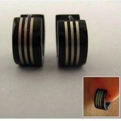 Mens Earrings Black Huggie Hoop Ear Cartilage by 360Jewels