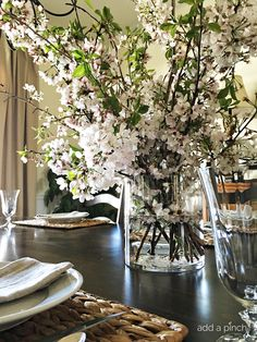 A cherry blossom branch arrangement makes an easy and elegant arrangement to welcome spring into your home! A beautiful classic floral arrangement. Diy Flowers, Wedding Flowers, Vase With Branches, Home Flower Arrangements, Plant Aesthetic, Flower Branch, Welcome Spring, Wedding Centerpieces, Cherry Blossom