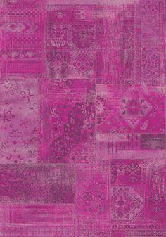 Antika Brilliant Pink Patchwork Floor Cloth Rug