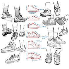Anatomy Drawing Reference Some shoe studies. More studies and tutorials on Patreon. Drawing Techniques, Drawing Tutorials, Drawing Tips, Art Tutorials, Anatomy Drawing, Manga Drawing, Figure Drawing, Art Reference Poses, Design Reference