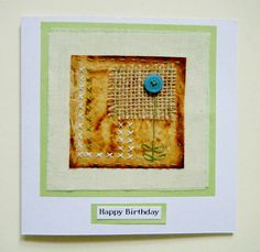 Handmade teabag art birthday card for her, mum, girlfriend, grandma, sister, friend by BluePebbleStudio on Etsy