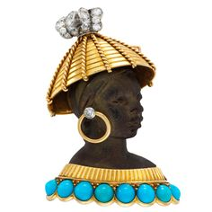 CARTIER A Multi-Gem and Ebony 'Blackamoor' Brooch | From a unique collection of vintage brooches at http://www.1stdibs.com/jewelry/brooches/brooches/