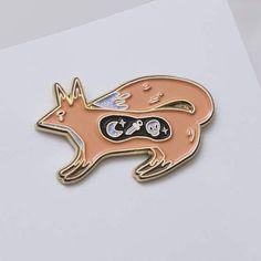Fox pin  Peach fox pin  Enamel pin  Fox lapel pin   Fox