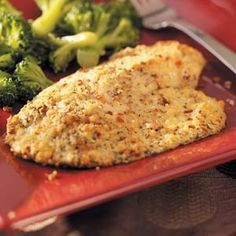 Easy Baked Parmesan Swai fish & Steamed broccoli w/cheese!! Yum!
