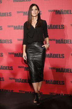 Sandra Bullock -  Dressed in an ASOS black matte-finish leather skirt