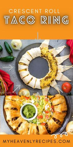 "Crescent Roll Taco Ring- Click the 3 dots below and choose ""Visit Site"" for recipe! Cresent roll dinner recipe to make for the family! Kid approved lunch or dinner. Mexican crescent roll meal. Ground beef, taco, etc. Dinner Rolls Recipe, Easy Dinner Recipes, Fall Recipes, Appetizer Recipes, Appetizers, Crescent Roll Ring Recipes, Crescent Roll Taco Bake, Croissant, Deserts"