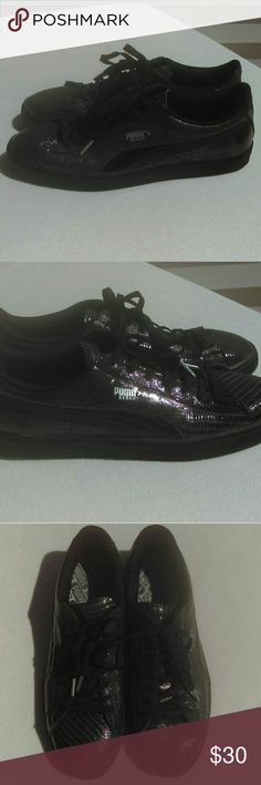 Puma Basket Classic Patent Black Leather Shoes Puma Basket Classic Patent Croc Mens Black Leather Lace up sneakers. Shoes and laces in like-new condition. Some fading of in-soles as pictured. Puma Shoes Sneakers
