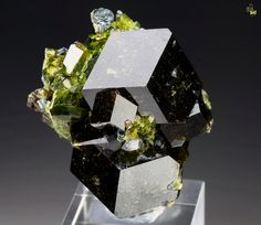 Large dodecahedron Andradite (Garnet var.) with yellow-green Epidote from Marki Khel, Spin Ghar range, Khogyani District, Nagarhar Province, Afghanistan