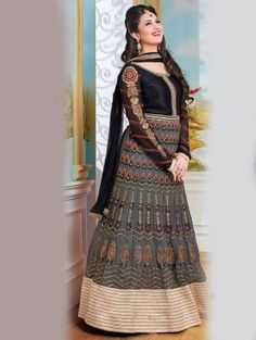 Black and Grey Georgette Anarkali Suit with Embroidery Work
