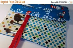 ON SALE Brush Roll Holder The Cat In The Hat Design, Storage Roll Holder, Travel Ogranizer, Craft Storage,Crayon Holder - pinned by pin4etsy.com