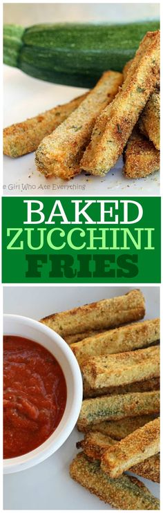 Baked Zucchini Fries - healthy and so good your kids will even eat them. the-girl-who-ate-everything.com