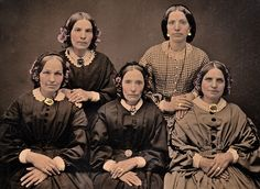 Ambrotype of Five Sisters, circa 1853, closeup by lisby1, via Flickr