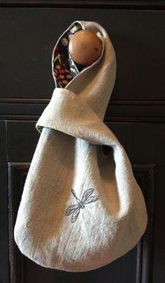 Petite Natural Linen Knot Bag Dragonfly Embroidery by VirginiaWay #virginiaway #linenknotbag #dragonfly