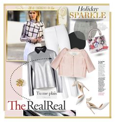 """Holiday Sparkle With The RealReal: Contest Entry"" by hamaly ❤ liked on Polyvore featuring Christian Dior, ESCADA, Acne Studios, Valentino, Manolo Blahnik, ootd, sparkle, contestentry, partystyle and TheRealReal"