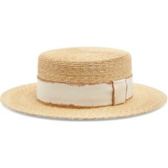 Filù Hats Cordoba wheat-straw hat (£270) ❤ liked on Polyvore featuring accessories, hats, beige, straw hats, beige hat, rosebud hats, wide brim straw hat and wide brim hat