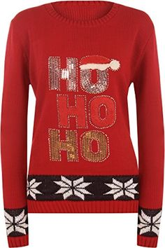 WearAll Womens Knit Christmas Sequin Ho Ho Ho Slogan Santa Print Jumper  Red  US 810 UK 1214 * Find out more about the great product at the image link.