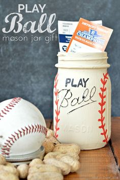 PLAY BALL Mason Jar Gift - Great idea for Father's Day