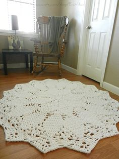 Giant Crochet Doily Rug- White Rug- Large area rug- Round Rug, Cottage Chic- Oversized- lace, rustic rug boho Chic Rug from EvaVillain on Etsy. Crochet Doily Rug, Crochet Carpet, Crochet Home, Shabby Chic Rug, White Rug, White Beige, Light Beige, Large Area Rugs, Rustic Rugs
