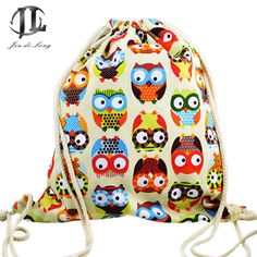 *# new brand 3D Fashion Printed Animal Owl Pattern Cute Girl'S Backpacks Women's Lady Travel Shopping Drawstring Bag
