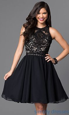 e3cc47808754 Knee-Length A-Line Beaded Lace-Bodice Party Dress