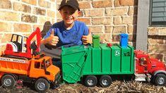 Garbage Truck Videos For Children l Bruder Mack Granite, Dump Truck, Exc...