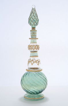 "Egyptian Perfume Bottles- Blown Glass 9.5"" Green Genie Style Bottle......."