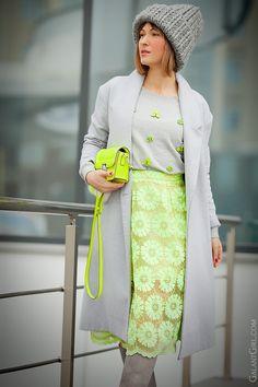 neon lace skirt on GalantGirl.com