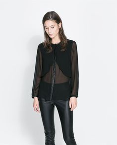 ZARA - NEW THIS WEEK - FAUX LEATHER COMBINATION BLOUSE