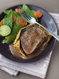 Filet de boeuf Wellington _ Huile, origan, champignon, pâte feuilletée, oignon, boeuf