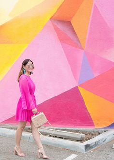 12120 Venice Blvd, Los Angeles, CA  Los Angeles Pink Multicolor Geometric Wall Mural
