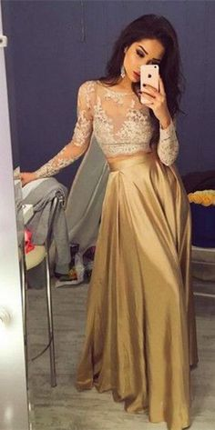 Beautiful Long A Line Gold Satin Prom Dress 2 Pieces Appliques Evening Dress with Long Sleeves